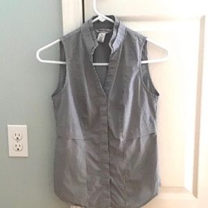 NWOT WHBM Pin Stripe Sleeveless Dress Shirt 00 XS
